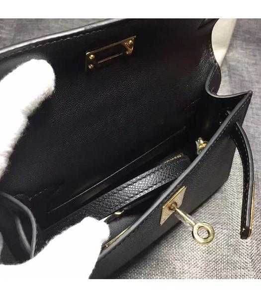Hermes Kelly 20cm Black Original Leather Mini Tote Bag Golden Hardware-3