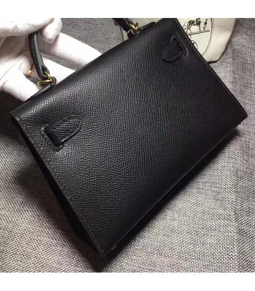 Hermes Kelly 20cm Black Original Leather Mini Tote Bag Golden Hardware-6
