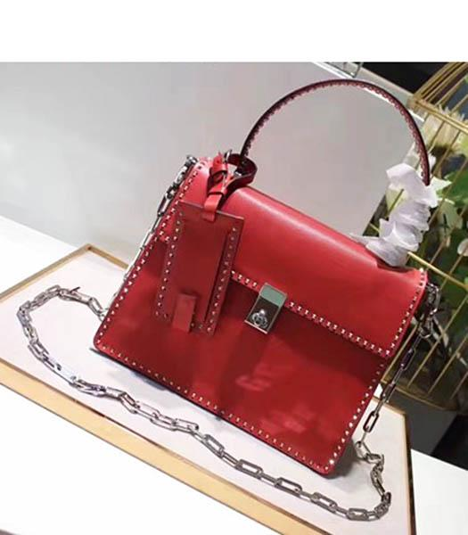 Valentino Red Original Leather Rivets Decorative 26cm Chains Tote Bag