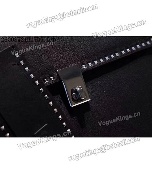 Valentino Black Original Leather Rivets Decorative 21cm Small Tote Bag-3