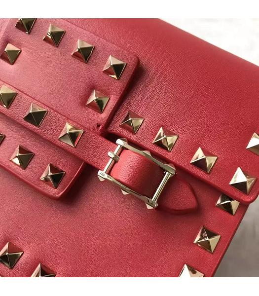 Valentino Red Leather Rivets Decorative Small Shoulder Bag-2