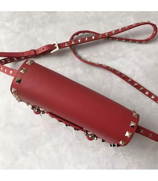 Valentino Red Leather Rivets Decorative Small Shoulder Bag-5