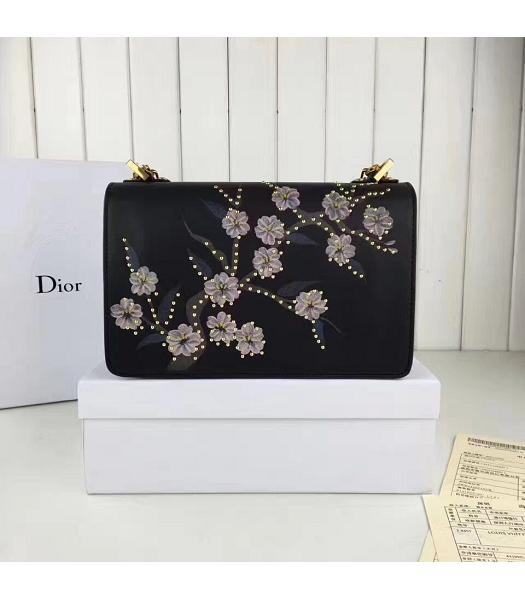Christian Dior Black Original Leather Flower Printed Chains Bag-2