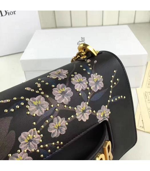 Christian Dior Black Original Leather Flower Printed Chains Bag-5