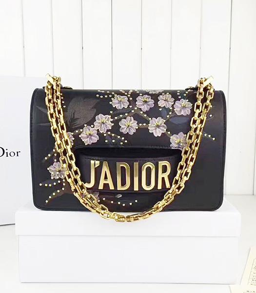 Christian Dior Black Original Leather Flower Printed Chains Bag