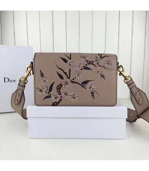 Christian Dior Nude Pink Original Leather Flower Printed Shoulder Bag-2