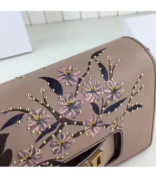 Christian Dior Nude Pink Original Leather Flower Printed Shoulder Bag-5