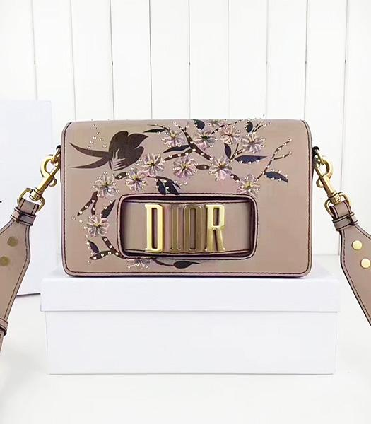 Christian Dior Nude Pink Original Leather Flower Printed Shoulder Bag