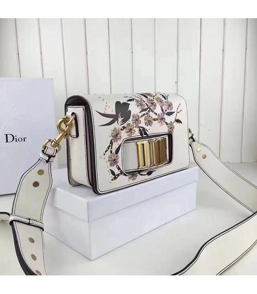 Christian Dior White Original Leather Flower Printed Shoulder Bag-1