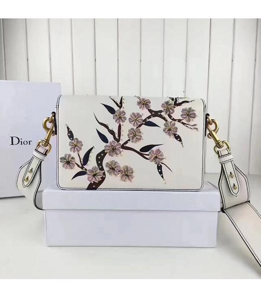 Christian Dior White Original Leather Flower Printed Shoulder Bag-2