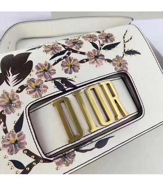 Christian Dior White Original Leather Flower Printed Shoulder Bag-4