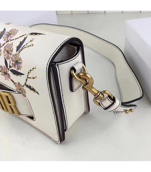 Christian Dior White Original Leather Flower Printed Shoulder Bag-5