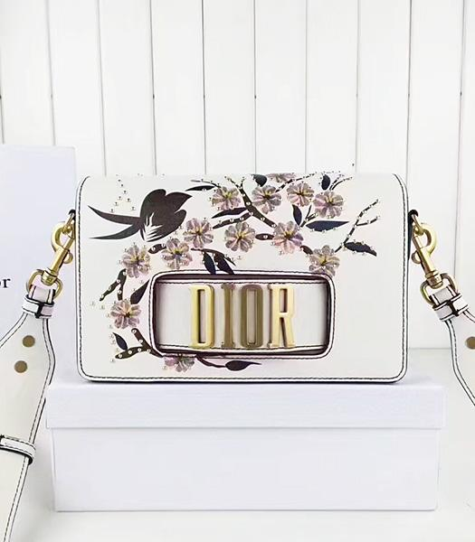 Christian Dior White Original Leather Flower Printed Shoulder Bag