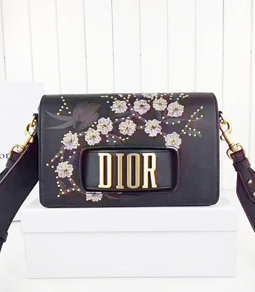 Christian Dior Black Original Leather Flower Printed Shoulder Bag