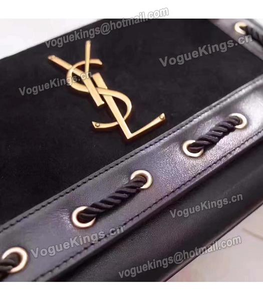 Yves Saint Laurent Black Calfskin With Suede Leather Flap Bag-1