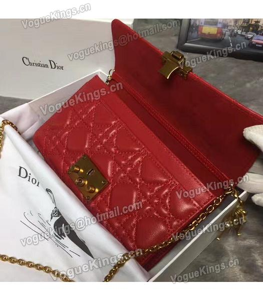 Christian Dior Cannage Red Original Leather 21cm Small Flap Bag-5