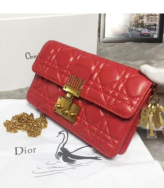 Christian Dior Cannage Red Original Leather 21cm Small Flap Bag