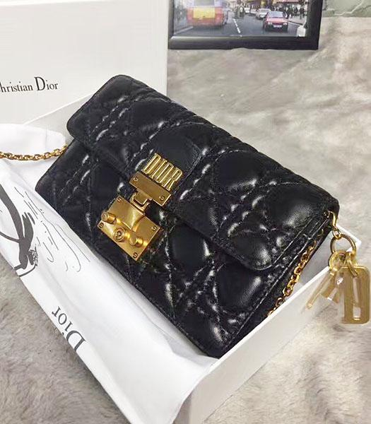 Christian Dior Cannage Black Original Leather 21cm Small Flap Bag