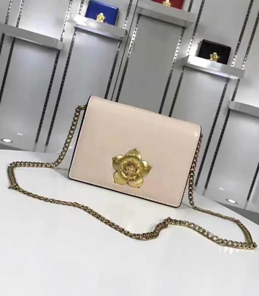 Prada Corolle Light Pink Leather Flower Decorative Chains Bag