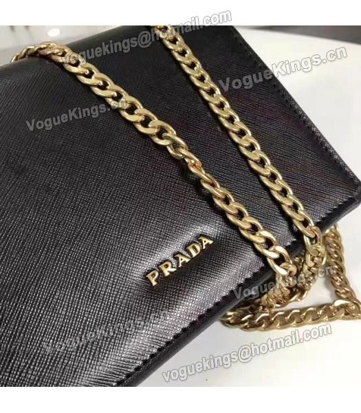 Prada Corolle Black Leather Flower Decorative Chains Bag-4