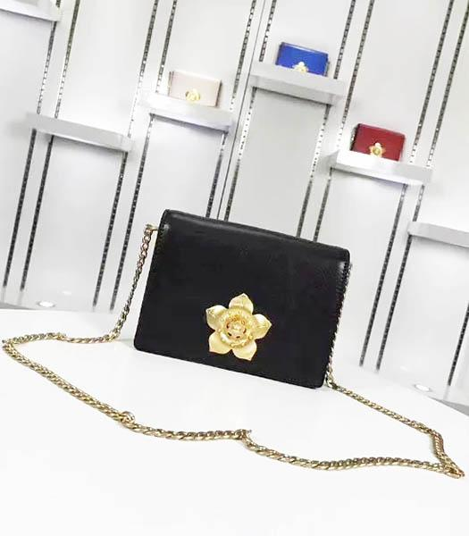 Prada Corolle Black Leather Flower Decorative Chains Bag