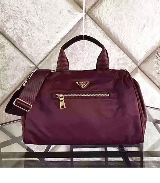Prada BN1843 Tessuto Nylon Shoulder Bag Wine Red