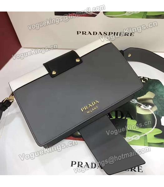 Prada 1BD068 Mixed Colors Original Leather Shoulder Bag Black-2