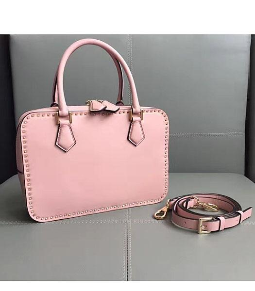 Valentino Pink Original Leather Rivets Tote Bag