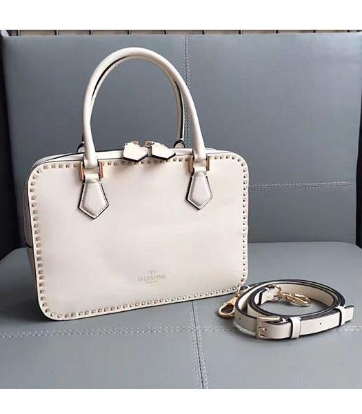 Valentino White Original Leather Rivets Tote Bag