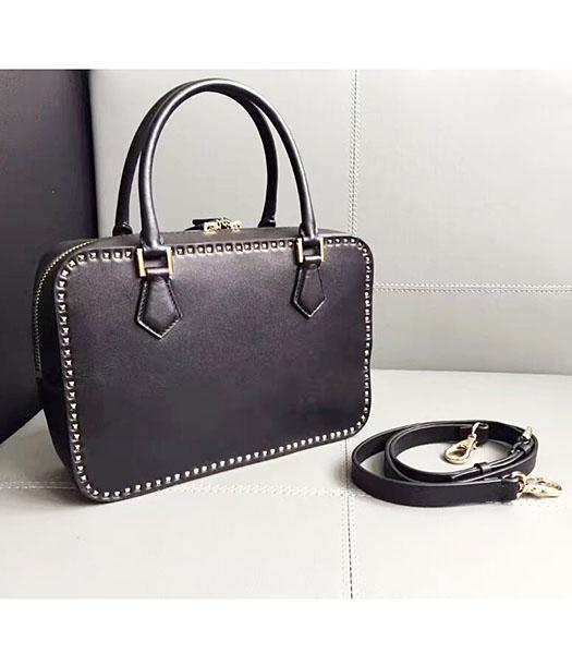Valentino Black Original Leather Rivets Tote Bag
