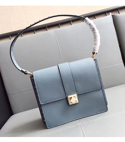 Valentino Blue Original Leather Rivets Shoulder Bag