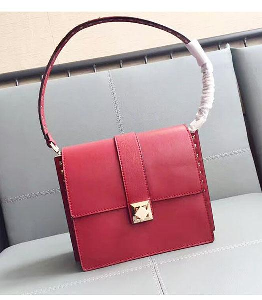 Valentino Red Original Leather Rivets Shoulder Bag