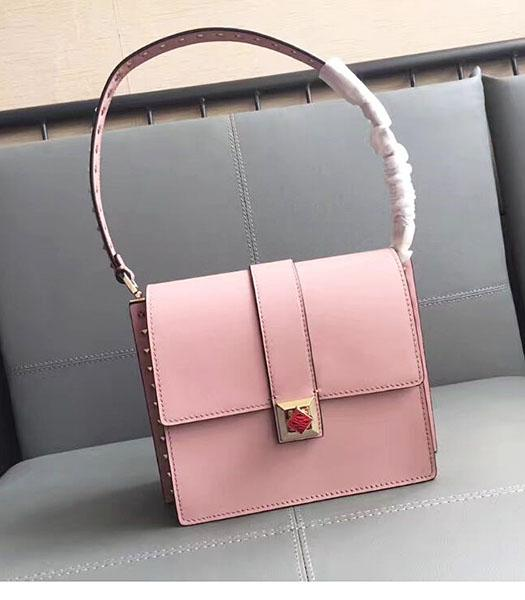 Valentino Pink Original Leather Rivets Shoulder Bag