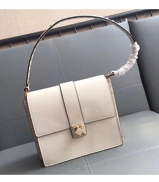 Valentino White Original Leather Rivets Shoulder Bag
