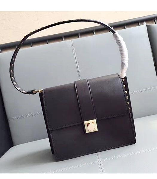 Valentino Black Original Leather Rivets Shoulder Bag