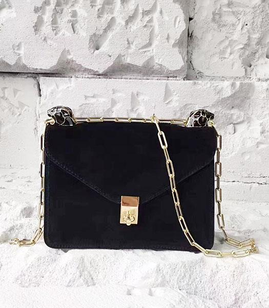 Valentino Black Suede Leather Chains Messenger Bag
