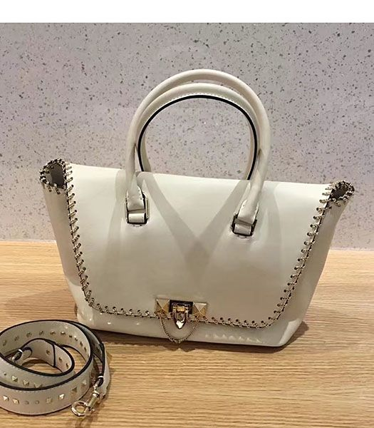 Valentino Demilune Small Double Handle Bag White Original Leather