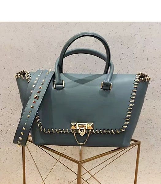 Valentino Demilune Small Double Handle Bag Blue Original Leather
