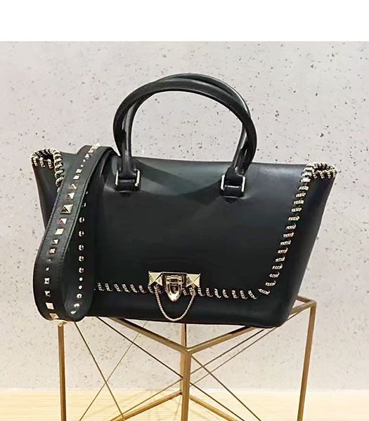 Valentino Demilune Small Double Handle Bag Black Original Leather