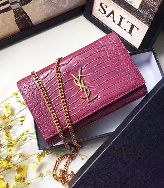 Yves Saint Laurent Red Croc Veins Leather Small Flap Bag