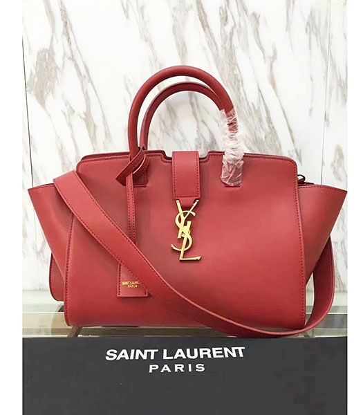 Yves Saint Laurent Red Calfskin Leather Top Handle Bag
