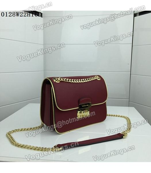 Michael Kors Jujube Red Leather Golden Chains Small Bag-1