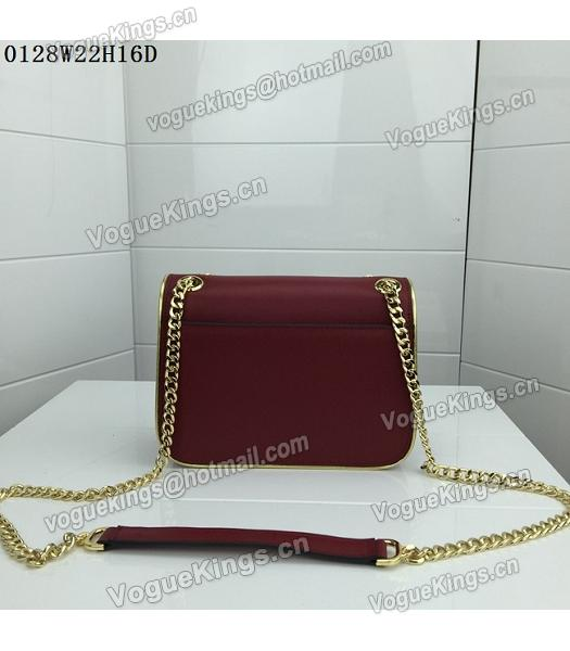 Michael Kors Jujube Red Leather Golden Chains Small Bag-2