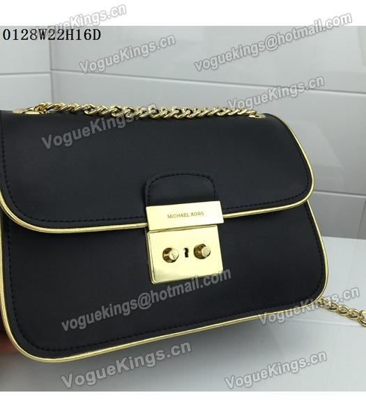 Michael Kors Black Leather Golden Chains Small Bag-4
