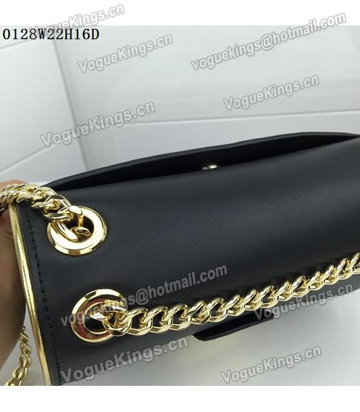 Michael Kors Black Leather Golden Chains Small Bag-5