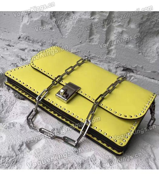 Valentino Yellow Original Leather Rivets Small Bag-5