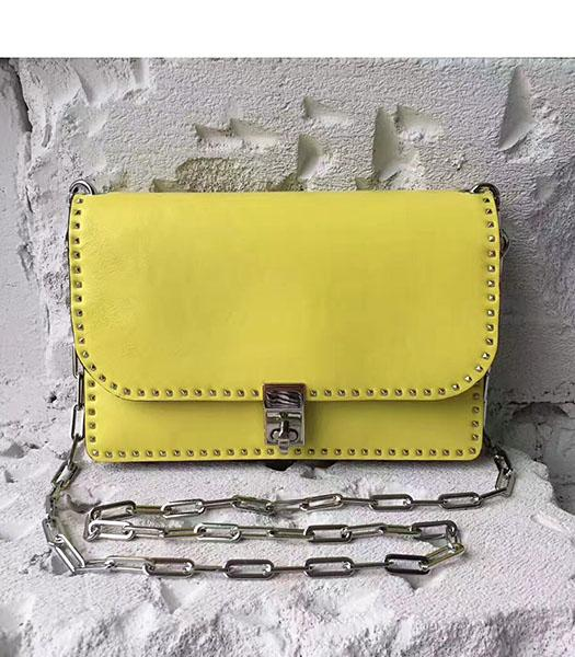Valentino Yellow Original Leather Rivets Small Bag