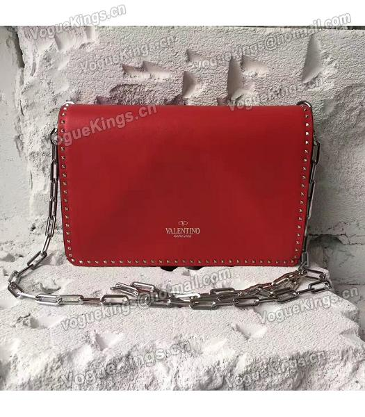 Valentino Red Original Leather Rivets Small Bag-5