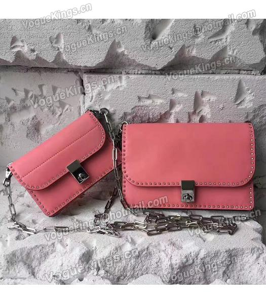 Valentino Dark Pink Original Leather Rivets Small Bag-3