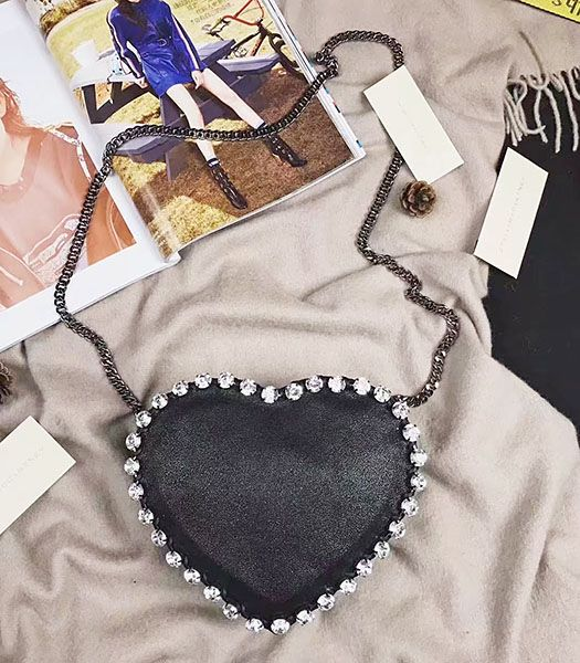 Stella McCartney Diamonds Heart Black Crossbody Bag Silver Chain